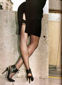 "US Vogue February 1995 ""High & Mighly"" Model: Nadja Auermann Photographer: Helmut Newton Stylist: Camilla Nickerson"