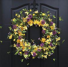 Summer Wreaths Yellow Daisy Wreath Summer Front by twoinspireyou