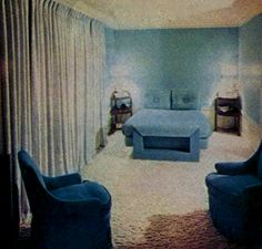Joan's relaxation room in cool blues and tan.