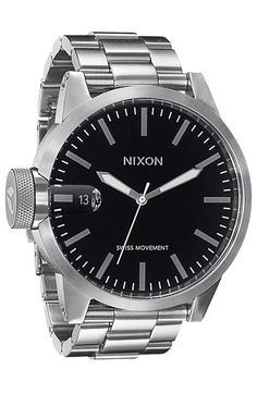 Free shipping and returns on Nixon 'The Chronicle' Stainless Steel Watch, 48mm at Nordstrom.com. Oversized textured crown distinguishes a thick stainless steel bracelet watch styled with a suave, monochromatic dial featuring a magnified date window.