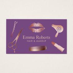 #hairstylist #businesscards - #Makeup Artist Hair Salon Modern Rose Gold & Purple Business Card