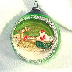 Santa in Sleigh Glass Diorama Indent Scene Christmas Ornament. Click on the image for more information.