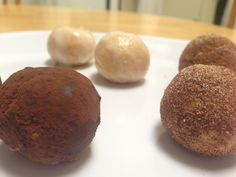 Low carb Donut Holes - makes 7- 3 tablespoons butter  3 tablespoons Stevia  1/8 teaspoon vanilla extract  Few drops almond extract (optional)  Dash salt  Dash pumpkin pie spice  1 egg  3 tablespoons coconut flour  Cinnamon/Splenda or cocoa for rolling