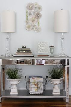 Contemporary entryway Crisp silver and white geometric wallpaper