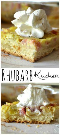 Rhubarb Kuchen   A German Rhubarb & Custard Yeast Cake   www.craftycookingmama.com