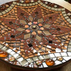 Glass mosaic mandala dish brown gold and copper | Etsy Mosaic Tray, Mosaic Glass, Bamboo Dishes, Kaleidoscopes, Copper Accents, Rainbow Swirl, Gold Glass, Mandala Pattern, Dichroic Glass