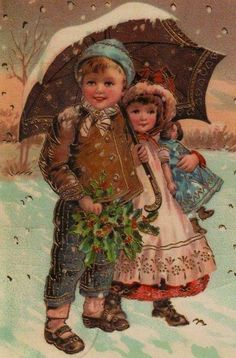 umbrellas.quenalbertini: Vintage girl and boy with umbrella