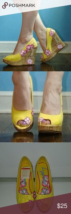 Ed hardy Wedges Yellow and pink wedges. Light weight. Peep toe. Great condition. Ed Hardy Shoes Wedges