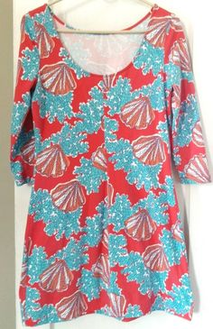 LILLY PULITZER Cotton Coral Reef 'On a Roll' Shift 3/4 Sleeve Dress Sz Small #LillyPulitzer #Shift