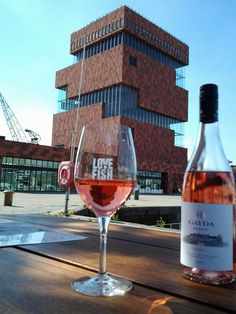 Rosé wine @ LoveFish , with view at the MAS museum.