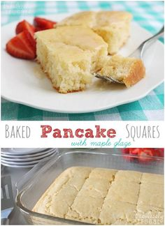 These baked pancake squares are wonderful! Super easy to make and the kids LOVE them. Especially with fresh fruit and maple glaze or syrup.