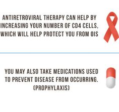 Antiretroviral therapy can help by increasing your number of CD4 cells, which will help protect you from OIS. You may also take medications ...