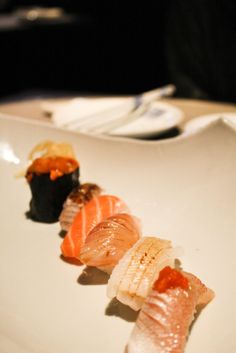 """fionaeats:  """"Nigiri at Shitori Young, Taipei.  A small restaurant tucked away in the alley; few steps down and the sliding doors opened up into a serene dining spot housing the so-called """"new kaiseki"""" that's popular in Taiwan as of late.  Tai, ika,..."""