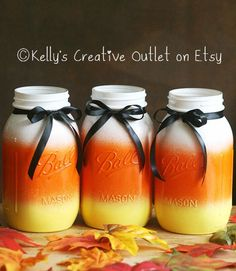 If scary Halloween decor isn't your thing, opt for a more kid-friendly approach with this candy corn-colored trio of Mason jars. ($9 each, kellyscreative outlet.etsy.com) RELATED: 6 Last-Minute Halloween Decorations   - CountryLiving.com