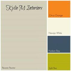 gray and orange boys bedroom | BM revere pewter gray paint colour palette with orange, cream, navy ...
