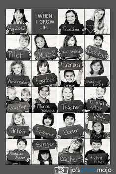 Kindergarten class photo collage of their potential professions. Really cute idea for kindergarten teacher! End Of School Year, Beginning Of School, School Days, High School, Middle School, End Of The Year Class Party Ideas, First Day At School, Student Gifts End Of Year, Presents For Students