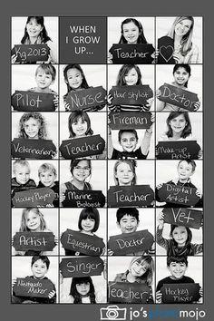 Tolle Idee für eine Deko Zuckertütenfest - Foto von jedem Kind mit späterem Berufswunsch