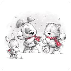 The three friends are playing with snow Tatty Teddy, Illustration Noel, Christmas Illustration, Illustrations, Christmas Drawing, Christmas Art, Vintage Christmas, Cute Images, Cute Pictures