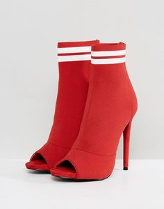 Missguided Sports Pull On Heeled Sock Boot - Red