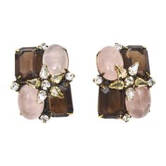 Pair of Iradj Moini Rose/Smoky Quartz/Rhinestone Clip On Earrings | From a unique collection of vintage clip-on earrings at https://www.1stdibs.com/jewelry/earrings/clip-on-earrings/
