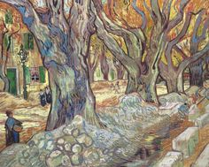 Vincent van Gogh - The Large Plane Trees (Road Menders at Saint-Remy), 1889 (Cleveland Museum of Art) Van Gogh: Up Close at Philadelphia Museum of Art Also viewed at Van Gogh Repetitions Exhibit - Phillips Collection Art Gallery Washington DC