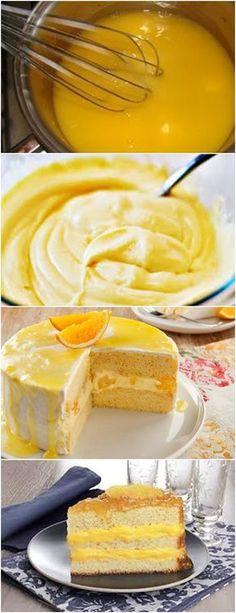 Recheio de Laranja..Vai Deixar seu Bolo Irresistível!! VEJA AQUI>>>Bata tudo na batedeira até ficar lisa, clara e fofa. #receita#bolo#torta#doce#sobremesa#aniversario#pudim#mousse#pave#Cheesecake#chocolate#confeitaria Sweet Recipes, Cake Recipes, Cakes Plus, Love Cake, Pavlova, Cream Cake, Relleno, Pasta, Delicious Desserts