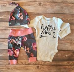 Hello World Gray Floral Baby Girl Outfit, Pink and Gray, READY TO SHIP, Coming Home Outfit, Going Home Outfit, Floral Outfit, Newborn Girl by JosieandJames on Etsy https://www.etsy.com/listing/502284876/hello-world-gray-floral-baby-girl-outfit