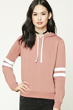 Style Deals - A French terry knit hoodie featuring long sleeves with varsity stripes, long sleeves, a ribbed trim, and contrast drawstrings.