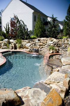Pool… * stone around pool,. Love..