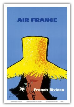"Amazon.com: Air France French Riviera c.1963 by Rene Gruau - Vintage World Travel Poster Print - 12"" x 18"": Home & Kitchen"