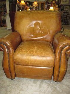 Recliner Brown Leather Nailhead Trim