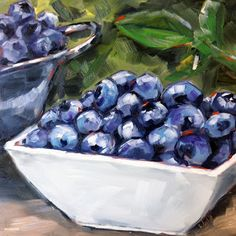 """My newest painting: Sarah B. Lytle Original Oils - Blueberries, 8""""x8"""" oil on panel"""