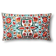 Check out this item at One Kings Lane! Vallejo Suzani 14x24 Pillow, Turquoise