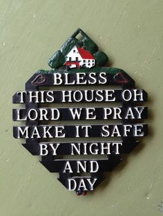 Vintage Bless This House Cast Iron Trivet Wall Plaque Home Prayer Made in Japan