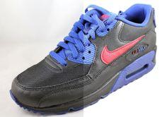 NIKE AIR MAX 90 (GS) Black/Gym Red-Deep Royal Blue Shoes 307793-059 Sz 6.5Y