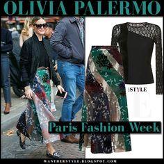 Olivia Palermo in black bomber jacket and multi colour floral print skirt roland mouret