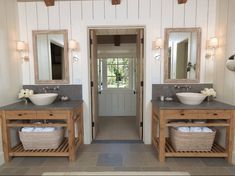 Jack and jill style bathroom for upstairs kids bath.  Two sinks, separate door for toilet and tub  -----  Sinks for jack & Jill bathroom leading shower & toilet.