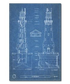 Courtside Market Lighthouse Blueprint IV Wrapped Canvas | zulily