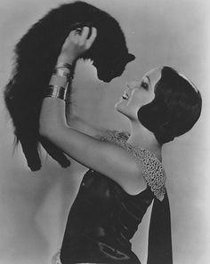 Dolores Del Rio and cat, 1920's