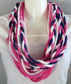 Pink Purple White Braided Infinity T Shirt by KammysKornerShop 60e861f2ffb8e