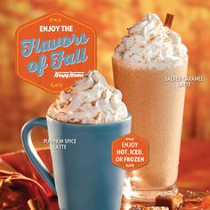 Krispy Kreme has lattes in fall flavors. Try Pumpkin Spice and NEW Salted Caramel hot, iced, or frozen. Available now!