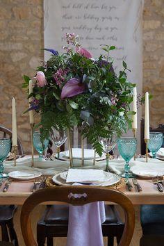 Tablescape Decor Glasses Purple Green Flowers Candles Chic Secret Garden Wedding Ideas http://marysmithphotography.com/