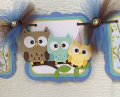 Owl family baby shower banner its a boy by NancysBannerBoutique