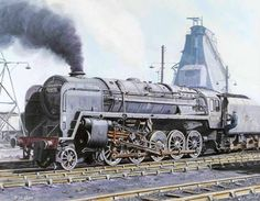 My Oil Painting. Willesden engine shed in north London in British Railways freight loco number 92078 is seen about leave the yard. British Railways, Holland, Steam Railway, Bonde, Train Art, Train Pictures, Old Trains, Train Engines, Thomas The Tank