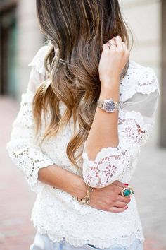 crochet top + clear jeans + turquoise ring = <3