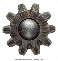 Machine gear, metal cogwheel. Isolated on white. by donatas1205, via Shutterstock