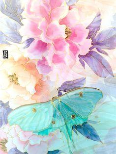 Hand Painted Silk Shawl Silk Chiffon Scarf Pink and Mint Silk Scarves, Light Scarves, Linocut Prints, Art Prints, Block Prints, Mint Scarf, Original Design, Silk Art, Silk Shawl