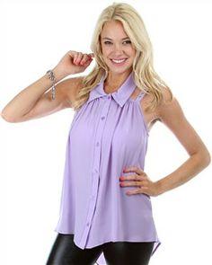 Lavender Hi-Lo Collared Top