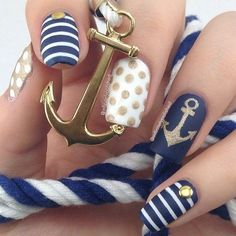 Anchor nails, July nails, Marine nails, Nautical nails, Sea nails, Sea…