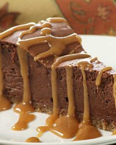 Recipe for French Chocolate Cheesecake - Served with caramel sauce this delicious French Chocolate Cheesecake is sure to please all the chocolate lovers in your family!